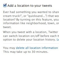 Geotagging Twitter Option in Your Account Setting